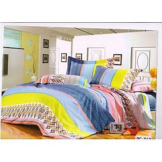 Valtellina Lovely Multi Colour Lineing Traditional Double Bed Sheet (RG-010)