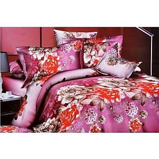 Valtellina Graceful pink & red flower design Double Bed Sheet (JF-003)