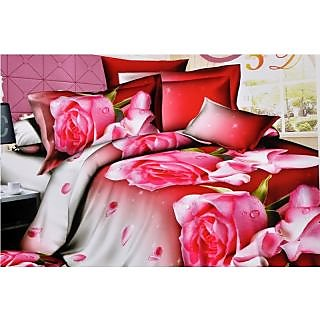 Valtellina Exquisite punch of Roses Print Double Bed Sheet (JF-009)
