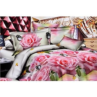 Valtellina Wonderful Pink Roses with Butterfly Print Double Bed Sheet (JF-012)