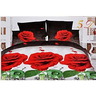 Valtellina Beautiful Red Roses with Water Print Double Bed Sheet (JF-018)