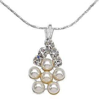 Silver Selection White Glass & White  Pearl Pendant