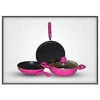 Smith Non Stick Aluminium Cookware Pink Set Of 4