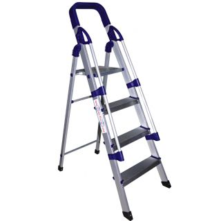 Cipla Plast Folding Aluminium Ladder with Railings - Home Pro 4 Steps