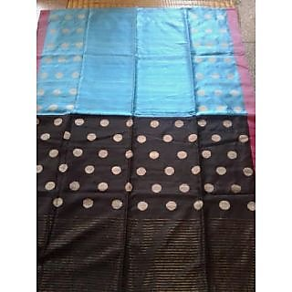 Beautiful Sky Blue Maatka Silk Saree