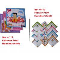 Kids 100% Cotton Cartoon/Flower Print  Handkerchiefs -Set of 12