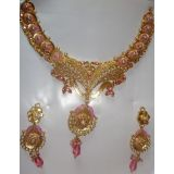 Durga Golden Necklace With Pink Diamonds & White Pearls