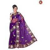 Khazana Purple Embroided Gorgeous Sarees Khazana 6 10002