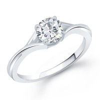 VK Jewels Crowned Solitaire Rhodium Plated Ring