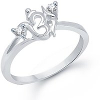 VK Jewels Om Rhodium Plated Ring