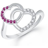 VK Jewels You & Me Heart Rhodium-Plated Ring