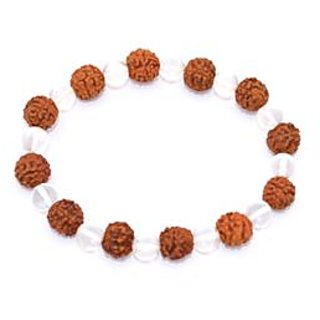 Kriti Feng Shui 5 Mukhi Rudraksh With Clear Quartz Bracelet