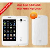 "iBall andi 4di white mobile with free ""white"" flip-cover"