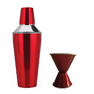 2 pc Maroon Color bar set - Cocktail Shaker and Double Sided Peg measure