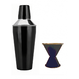 2 pc Black Color bar set - Cocktail Shaker and Double sided Peg measure