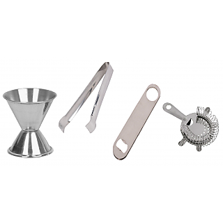 4 pcs bar set - ice tong peg measure bottle opener strainer