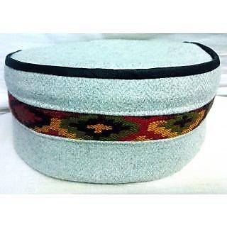 Himachali Cap(Pahari Topi) - Pure White Fine cap