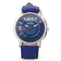 Fidato Round Dial Blue Leather Strap Quartz Watch For Men