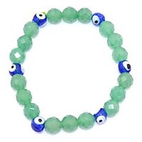 Kriti Feng Shui Diamond Cut Jade Bracelet With Turkish Evil Eye Bracelet