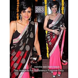 Mandira Bedi Black Beauty Awesome Designer Saree