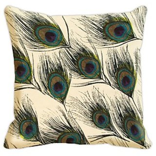 Mesleep Feather  Digitally Printed  16X16 Inch Cushion Cover Pretentious