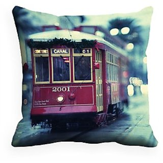 Mesleep Tram Digitally Printed  16X16 Inch Cushion Cover Tempting