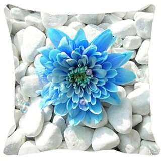 Blue  White Polyester Cushion 16 X 16 Inches
