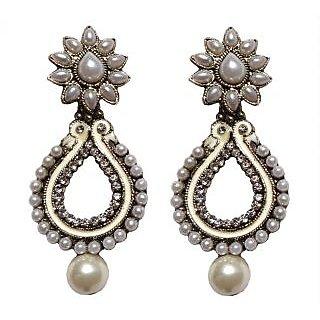 Bollywood Designer White Earrings - 10027