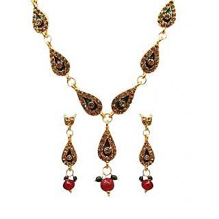 14Fashions Fancy Necklace Set in Maroon & Green - 1100815