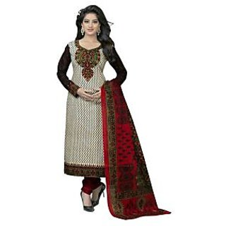 Nazaquat Beige Printed Cotton Unstitched Dress Material