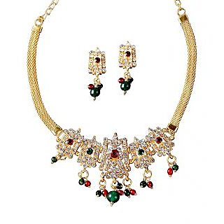14Fashions Crafted Necklace Set in Red & Green - 1100827