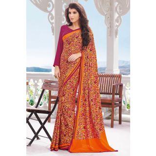 EthnicBasket Orange Intricate Printed Saree