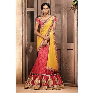 EthnicBasket Pink Trendy Embroidered Saree