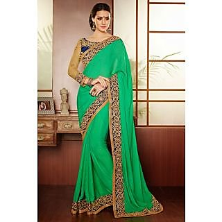 EthnicBasket Green Attractive Embroidered Saree