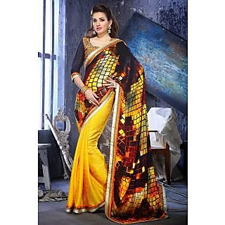 EthnicBasket Yellow Admirable Embroidered Saree