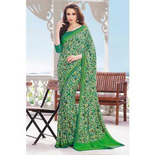 EthnicBasket Green Bold Printed Saree