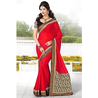 EthnicBasket Pink Noticeable Embroidered Saree