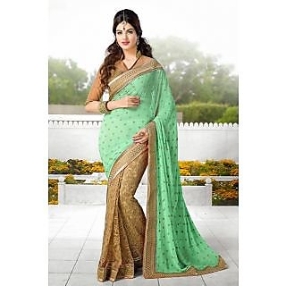 EthnicBasket Beige Charming Embroidered Saree