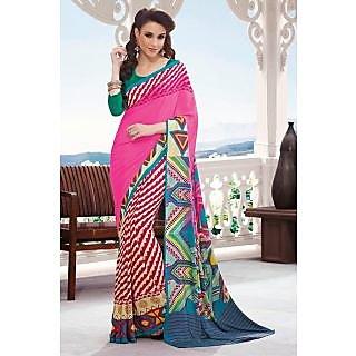 EthnicBasket Pink Tremendous Printed Saree