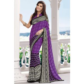 EthnicBasket Purple Intricately Printed Saree