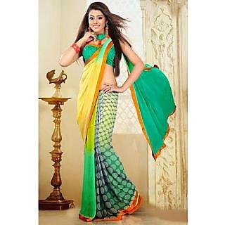 EthnicBasket Green Symmetrical Printed Saree