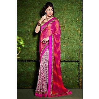 EthnicBasket Pink Elite Printed Saree