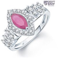Sukkhi Pleasing Rhodium Plated CZ Ruby Ring