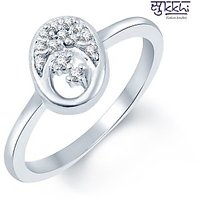 Sukkhi Stunning Hearts Rhodium Plated CZ Ring