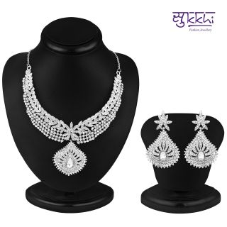 Sukkhi Marvellous Rhodium plated AD Stone Necklace Set