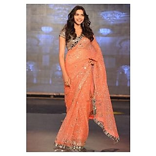 Deepika Padukone Orange Bollywood Designer Saree