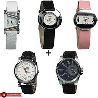 Fidato Multicolor Leather Strap Couple's Quartz Watch( Pack Of 3 Womens And 2 Mens)