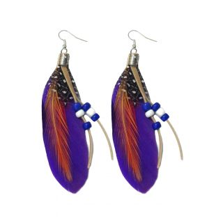Feather Purple Earrings - 725