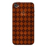 Amzer 88403 Luxe Argyle High Gloss TPU Soft Gel Skin Case - Orange For IPhone 4
