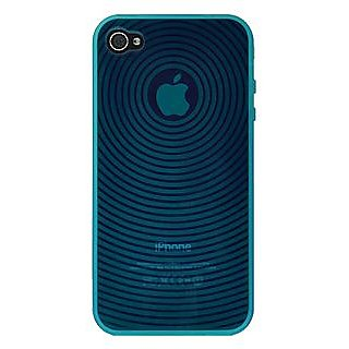Amzer 88754 Wave Circle TPU Skin Case - Blue for iPhone 4
